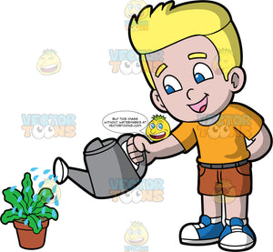 A blonde boy watering a potted plant. A boy with blonde hair and blue eyes, wearing brown shorts, an orange shirt, and blue and white sneakers, using a gray watering can to water a leafy green potted plant