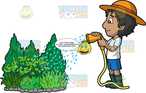 A boy watering some outdoor shrubs. A boy with black hair, wearing blue shorts, a white T-shirt, rubber boots, and a sun hat, using a hose to water some green bushes