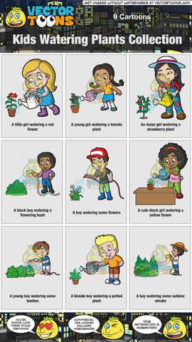 Kids Watering Plants Collection