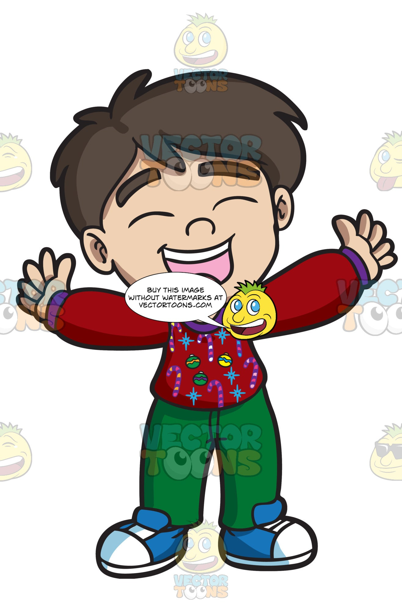 Ugly Christmas Sweater Cartoon.A Very Happy Boy Wearing His Ugly Christmas Sweater