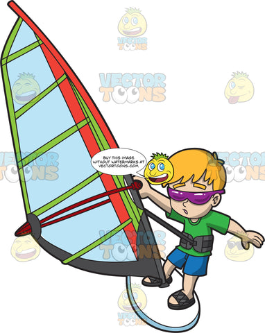 A Chilled Boy Riding A Windsurfer