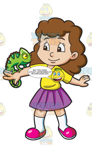 A Girl With A Pet Chameleon