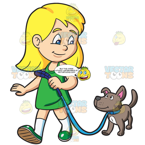 A Girl Takes Her Dog For A Walk
