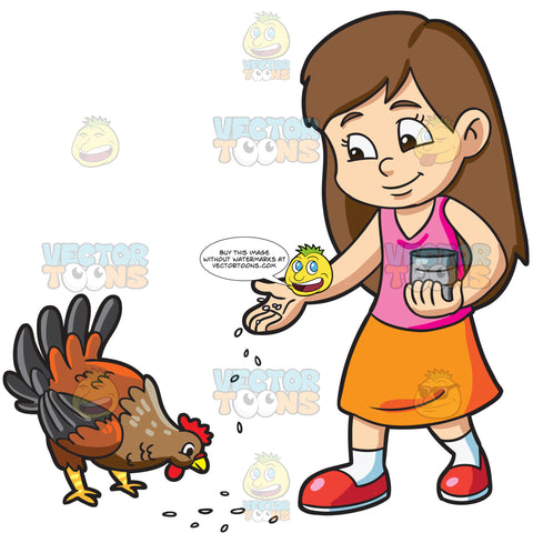 A Girl Feeding Her Pet Hen