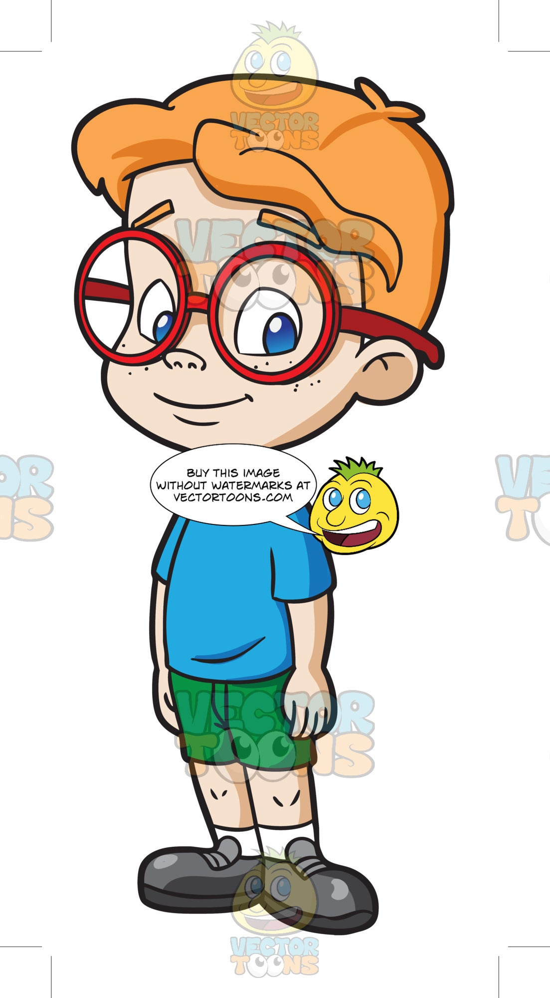 A male kindergarten student looking nerdy and smart clipart cartoons by vectortoons