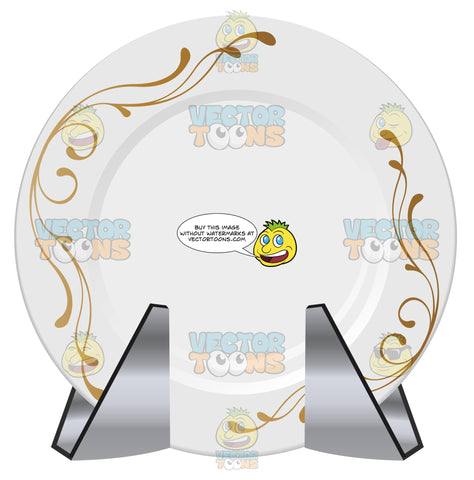 White Porcelain Dinner Plate With Gold Florish Detail In Stand