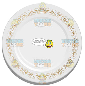 White Ceramic Plate With Gold Detail Around Border