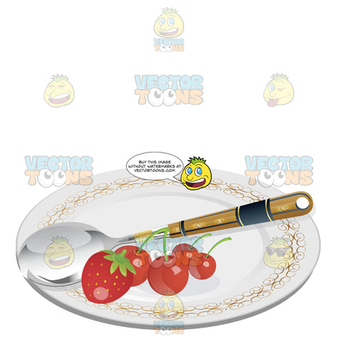 Silverware Spoon On White China Plate With Strawberry And Cherries