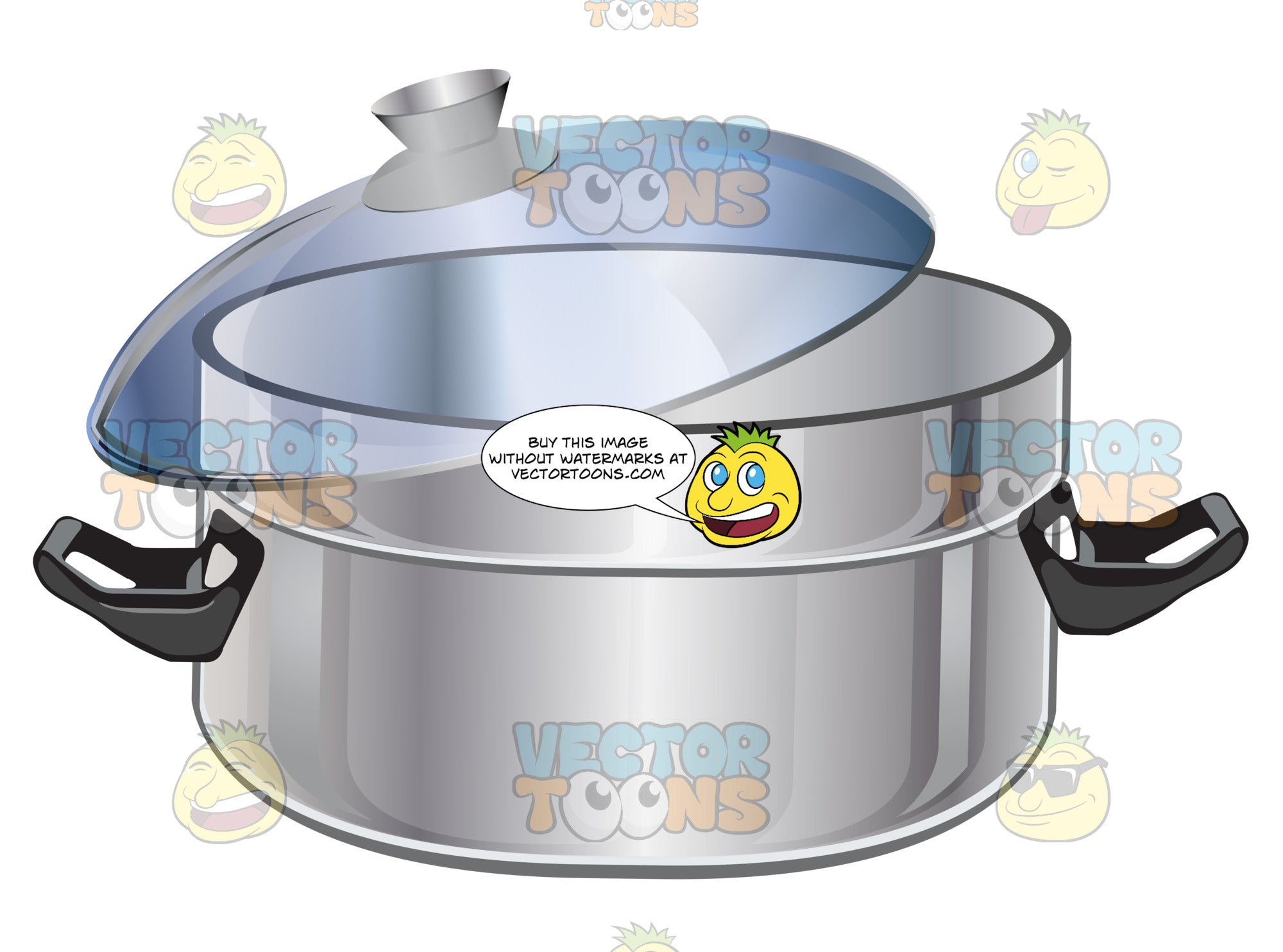 Stainless Steel Quart Stockpot With Clear Lid And Black Handles