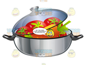 Metal Stew Pan With Clear Lid Askew With Tomatoes And Carrots Inside