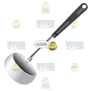 Silver Ladle With Black Handle