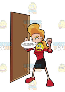 A Woman Getting Mad And Furious At The Other Side Of The Door