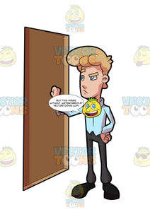 An Irritated Man Knocking On The Door