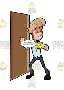 A Rushing Man Knocking On A Door
