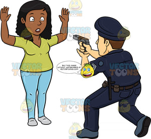 A Policeman Telling A Black Woman To Freeze