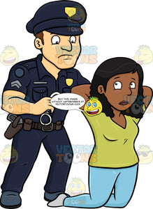 A Policeman Placing Handcuffs On A Black Woman