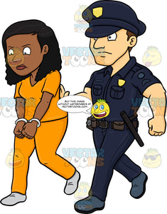 A Black Female Prisoner Being Escorted By A Policeman