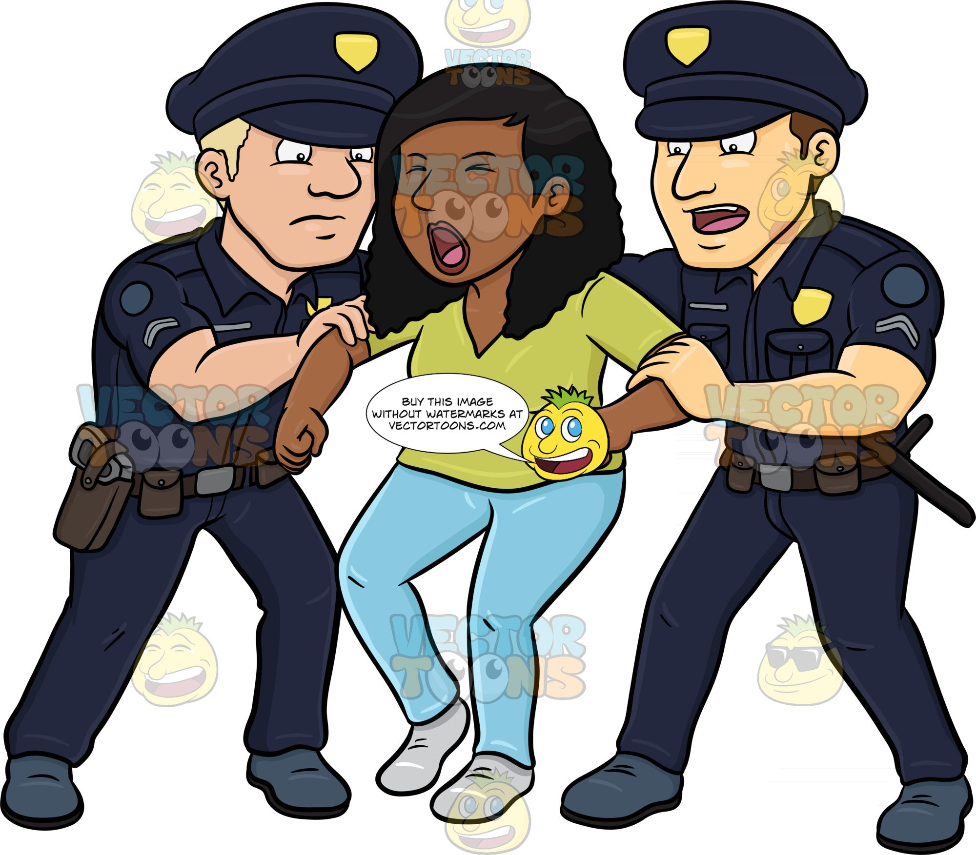 Policemen Trying To Stop A Rioting Black Woman