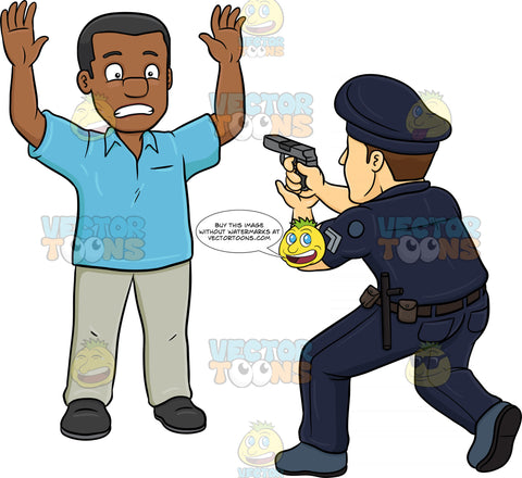 A Policeman Telling A Black Man To Freeze