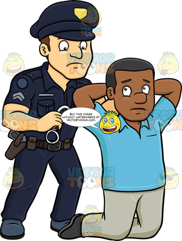 A Policeman Placing Handcuffs On A Black Man
