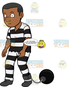 A Prison Ball Attached To A Leg Of A Black Man