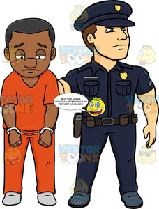 A Policeman Escorting A Black Male Convict