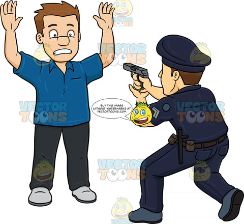 A Policeman Telling A Man To Freeze