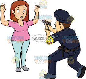 A Policeman Telling A Woman To Freeze