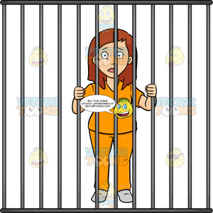 A Scared Woman Behind Bars