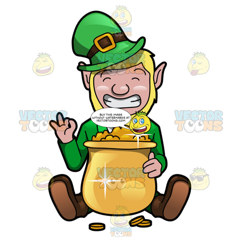A Giddy Leprechaun With A Pot Of Gold