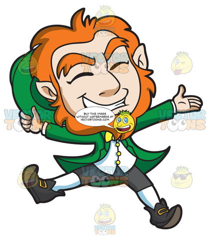 A Delighted Leprechaun Jumps For Joy