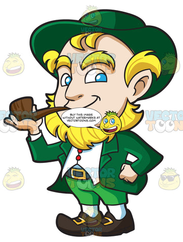 A Happy Leprechaun Smokes A Pipe