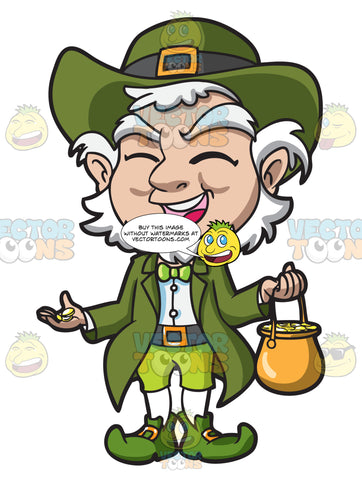 A Charming Old Leprechaun With His Pot Of Gold