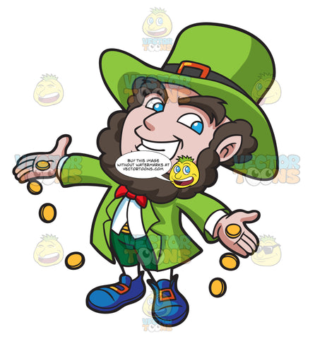 A Jolly Leprechaun Dropping Gold Coins