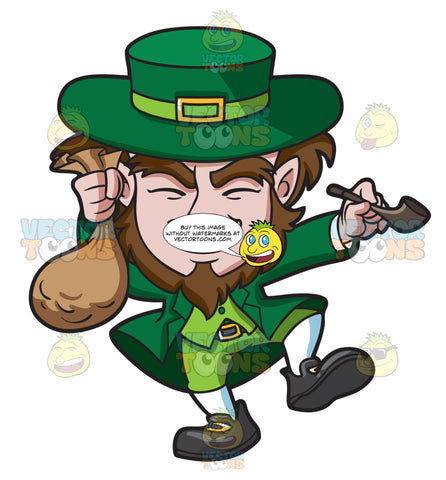 A Giddy Leprechaun With A Bag Of Gold Coins