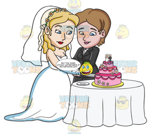 A Married Lesbian Couple Slicing Their Wedding Cake