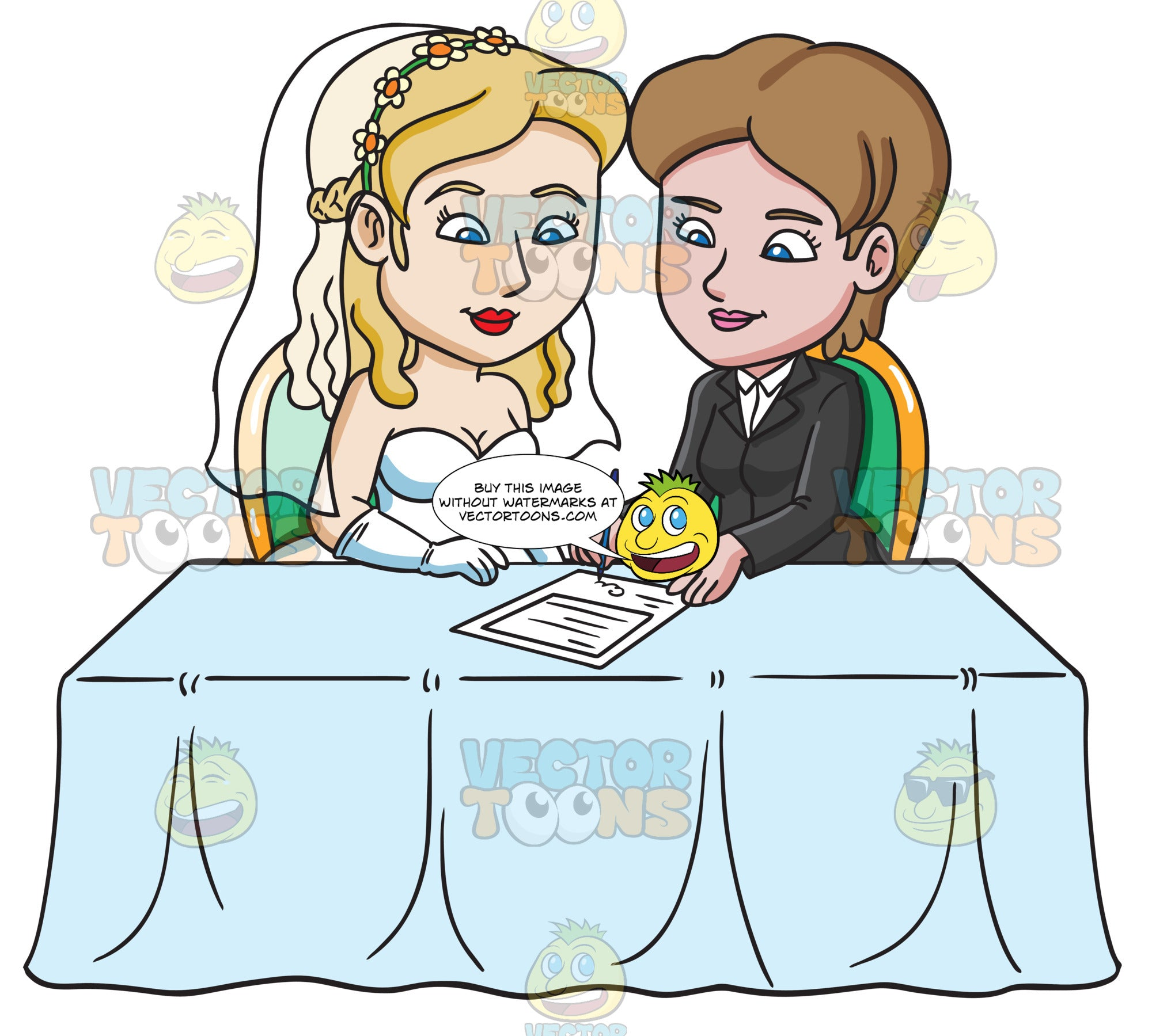 A Lesbian Couple Signing Their Marriage Certificate