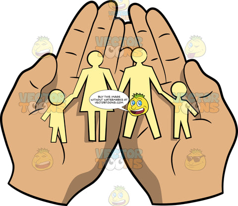 Caring Hands Holding A Family Cutout