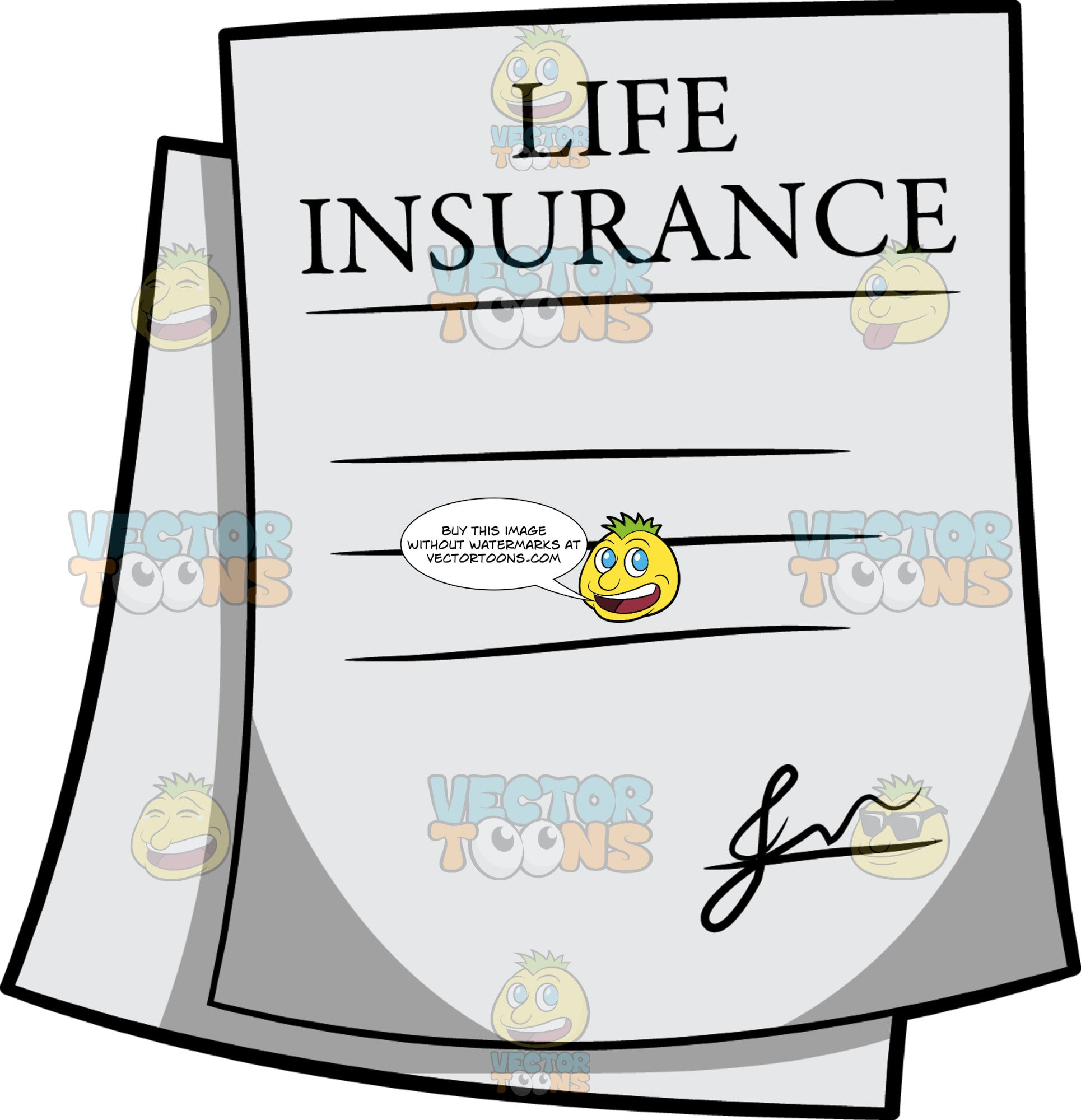Life Insurance Policy - Clipart Cartoons By VectorToons