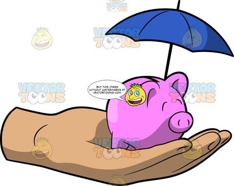 An Umbrella Over A Piggy Bank Representing Life Insurance Protection