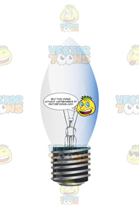 Candel Shaped Light Bulb With Slight Blue Tint To Glass