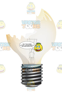 Broken, Cracked, Missing Light Bulb With Slight Brown Yellowish Tinge, Standard Shape