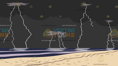 Lightning Storm By The Beach Background