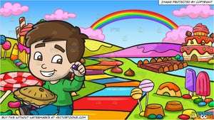 Christmas Candyland Backdrop.Little Jack Horner Eating A Christmas Pie And A Candy Land Background