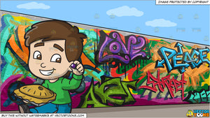 Christmas Graffiti Background.Little Jack Horner Eating A Christmas Pie And A Graffiti Wall Background