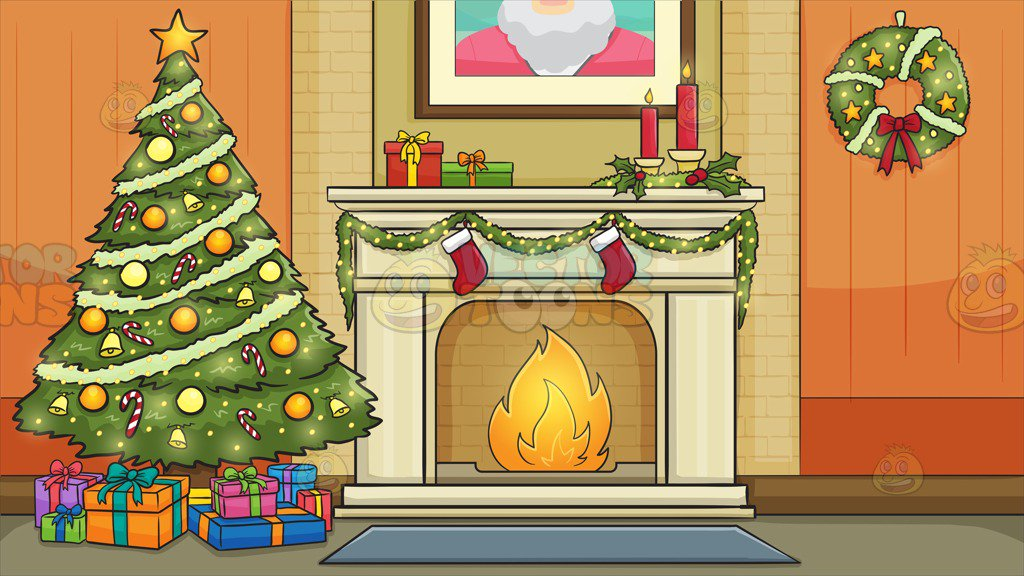 Living Room Decorated For The Christmas Holidays Background Clipart Cartoons By Vectortoons