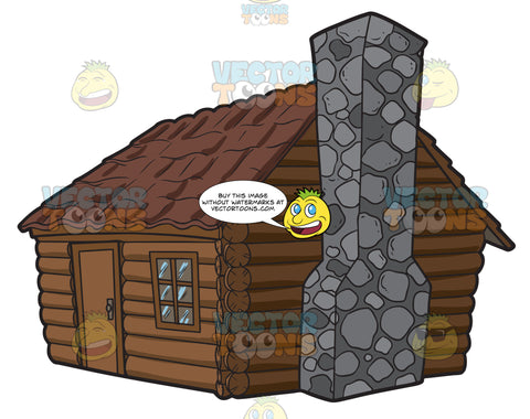 A Log Cabin With A Stone Chimney
