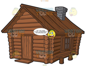 A Log Cabin With Chimney And A Bench