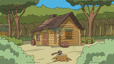 Log Cabin In The Woods Background