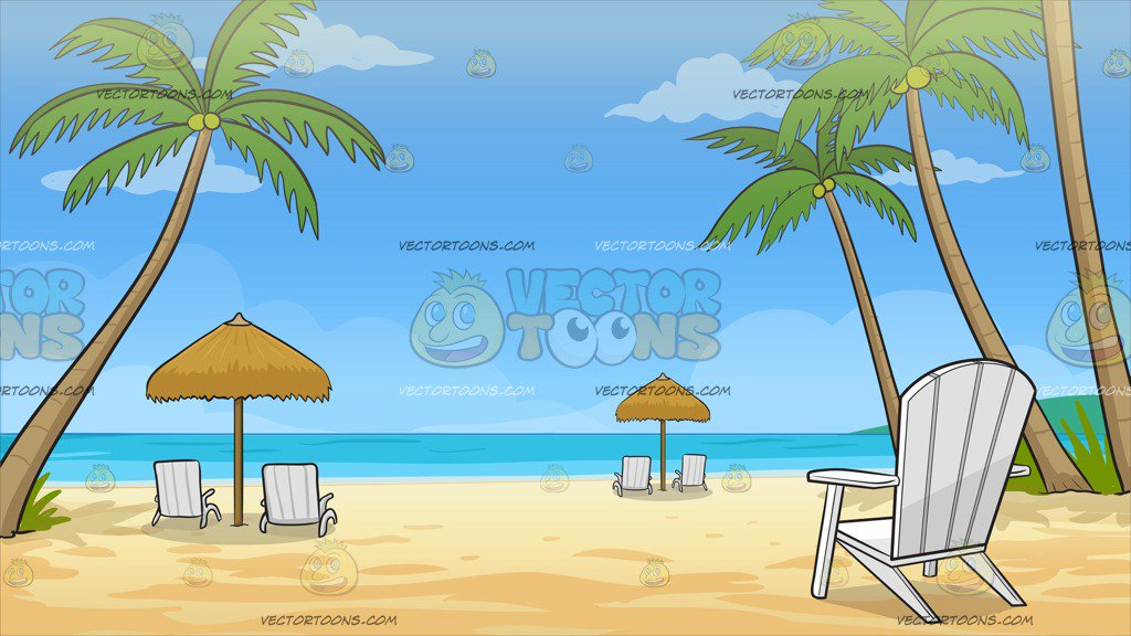 Loungers On The Beach Background